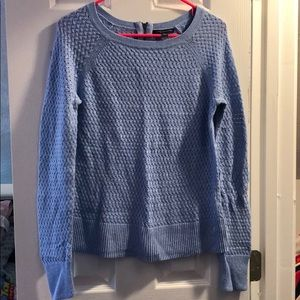 Blue woven zip back sweater